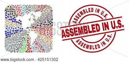 Vector Mosaic South And North America Map Of Different Icons And Assembled In U.s. Seal Stamp. Mosai