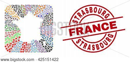 Vector Collage France Map Of Different Icons And Strasbourg France Stamp. Collage France Map Created