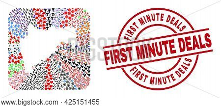 Vector Mosaic Maharashtra State Map Of Different Pictograms And First Minute Deals Badge. Mosaic Mah