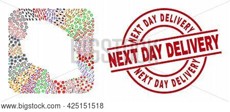 Vector Collage Tanzania Map Of Different Symbols And Next Day Delivery Seal Stamp. Collage Tanzania