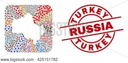 Vector Mosaic Moscow Region Map Of Different Symbols And Turkey Russia Stamp. Mosaic Moscow Region M