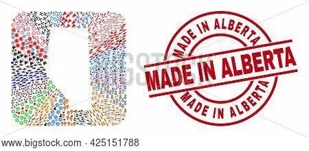 Vector Mosaic Alberta Province Map Of Different Symbols And Made In Alberta Seal. Mosaic Alberta Pro