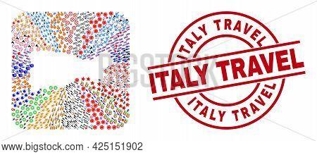 Vector Mosaic Capri Island Map Of Different Icons And Italy Travel Stamp. Mosaic Capri Island Map De