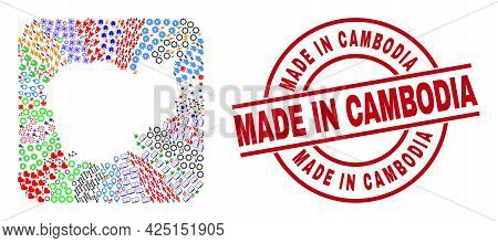 Vector Mosaic Cambodia Map Of Different Pictograms And Made In Cambodia Seal Stamp. Mosaic Cambodia