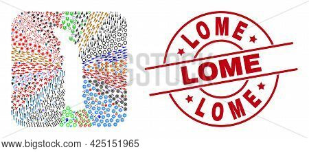 Vector Collage Togo Map Of Different Icons And Lome Seal Stamp. Collage Togo Map Constructed As Carv