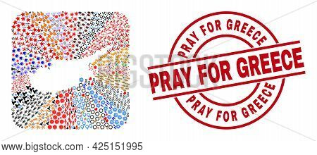 Vector Mosaic Cyprus Map Of Different Icons And Pray For Greece Stamp. Mosaic Cyprus Map Created As