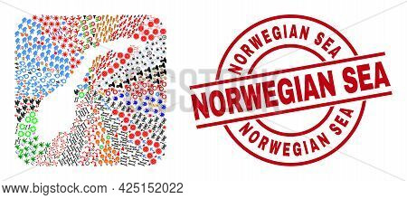 Vector Collage Norway Map Of Different Icons And Norwegian Sea Stamp. Mosaic Norway Map Constructed