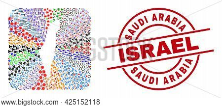 Vector Collage Israel Map Of Different Symbols And Saudi Arabia Israel Stamp. Collage Israel Map Con