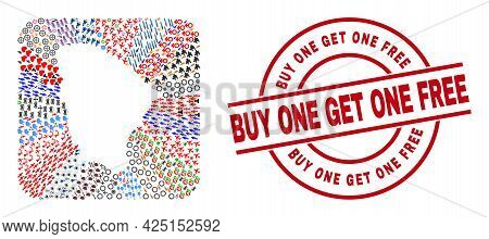 Vector Mosaic Ceara State Map Of Different Icons And Buy One Get One Free Seal. Mosaic Ceara State M