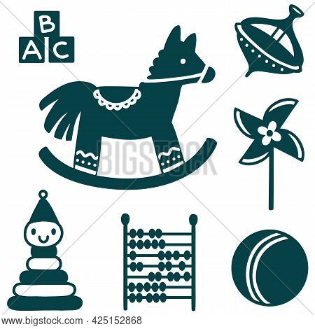 Vector Set Of Primitive Silhouettes Of Retro Childrens Toys For Boy