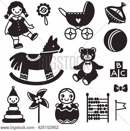 Vector Set Of Simplified Images Of Silhouettes Of Vintage Soviet Toys For Children