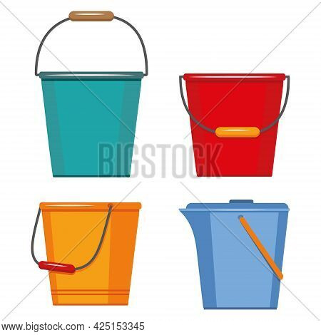 Set Of Insulated Containers For Washing And Cleaning Made Of Plastic, Basins Bucket Bath, Vector In