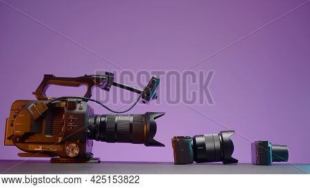Russia, Moscow - May 5, 2021: Comparison Of Professional Cameras. Action. Comparison Of Cameras By Q