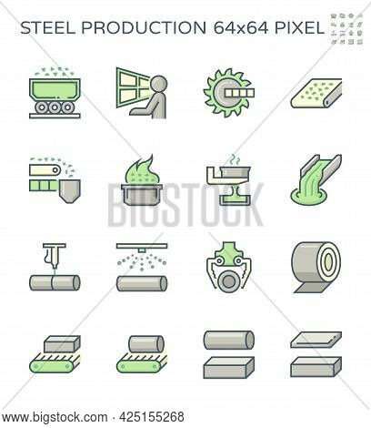 Metallurgy Production Industry Vector Icon. Steel Mill Or Steelworks Consist Of Worker, Machine Equi
