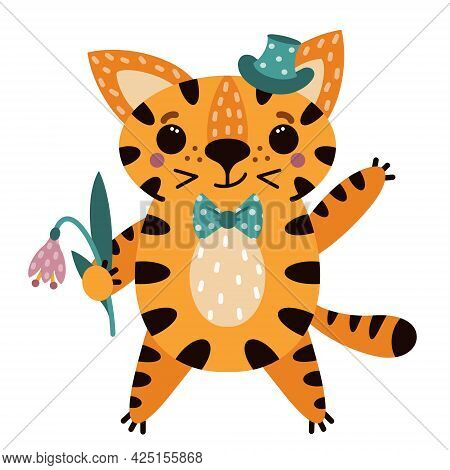 Cute Cartoon Striped Tiger. The Animal Smiles And Waves. Smart Predator In Top Hat And Bow Tie. The