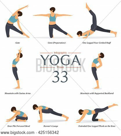 Set Of 8 Yoga Poses Or Asana Posture In Flat Design. Beauty Woman In Blue Sportswear And Black Yoga
