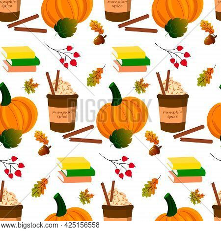 Autumn Pattern. Coffee In A Cup With , Pumpkin And Autumn Leaves. Vector Illustration Isolated On Wh