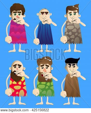 Cartoon Prehistoric Man With Sympathy. Vector Illustration Of A Man From The Stone Age With Index Fi