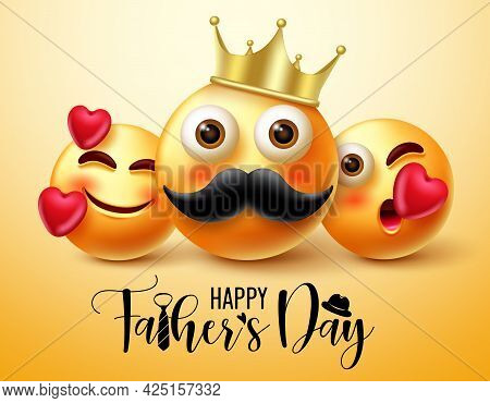 Father's Day Emoji Vector Banner Design. Happy Father's Day Text With 3d Father And Children Charact