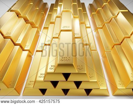 3d Rendering Illustration Gold Bar Bullion On A  White Background