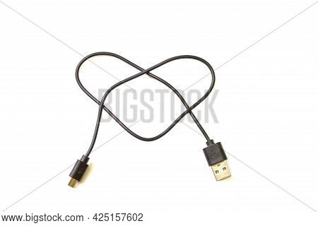 Usb Micro Cables Isolated On White Background. Connectors And Sockets For Pc And Mobile Devices. Com