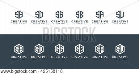 Set Of Creative Monogram Letter Logo Hexagon Premium Vector