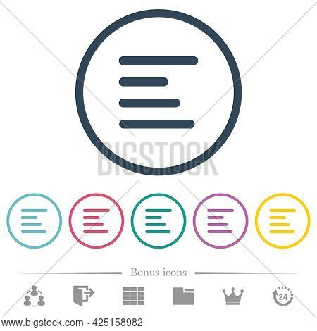 Text Align Left Flat Color Icons In Round Outlines. 6 Bonus Icons Included.