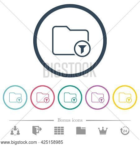 Filter Directory Outline Flat Color Icons In Round Outlines. 6 Bonus Icons Included.
