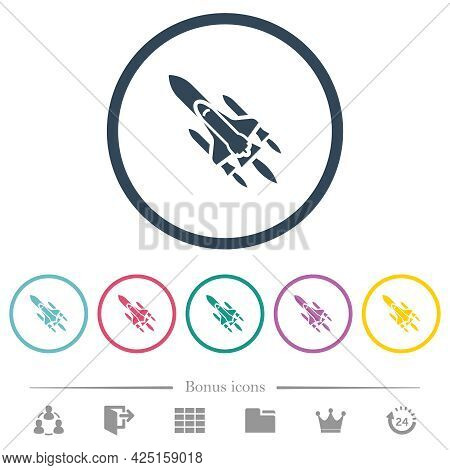 Space Shuttle With Launchers Flat Color Icons In Round Outlines. 6 Bonus Icons Included.