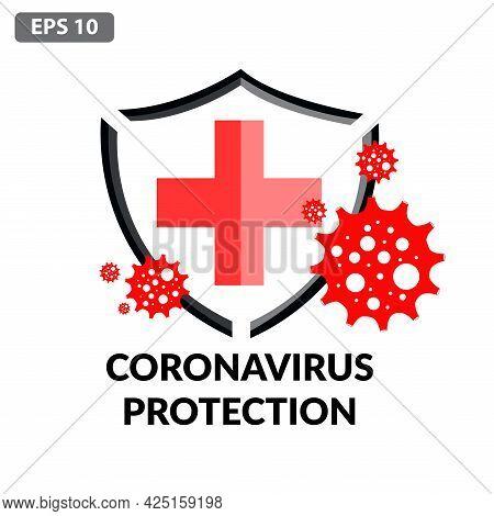 Сorona Virus Concept With Protective Antivirus Shield To Coronavirus, Covid-19, 2019-ncov Infection.