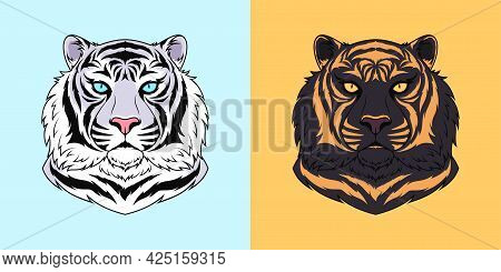 White And Black Tiger Head With Blue And Golden Eyes, Isolated Tiger Face. Predatory Wildcat. Tiger