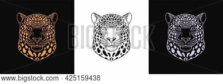 Gold, Black And Silver Jaguar Head, Set Of Isolated Outline Jaguar Face. Spotted Panther, Predatory
