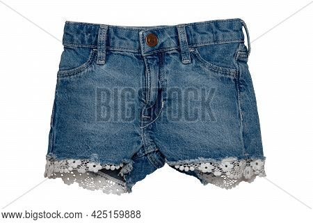 Jeans Isolated. Trendy Stylish Short Blue Denim Pants Or Trousers For Child Girl Isolated On A White