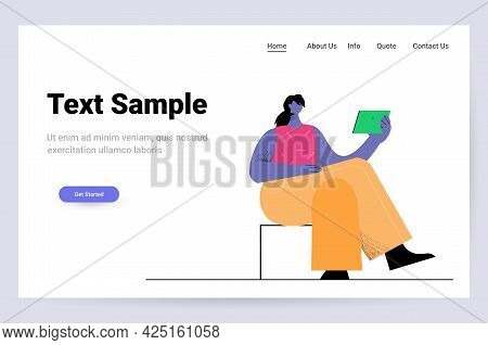Young Woman Using Tablet Pc Social Media Network Communication Concept