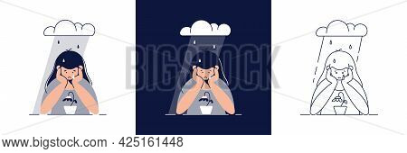 Depression Vector Illustration Set. Sad, Unhappy Young Woman Is In A State Of Depression, Feels Sadn