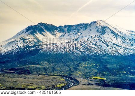 View Of The Volcano Mount St. Helens, In Washington State, Usa