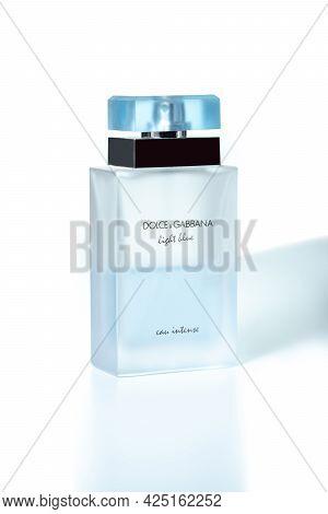 Dolce & Gabbana Perfume Bottle On White Background, Light Blue Parfum. Kiev, Ukraine - June, 2021