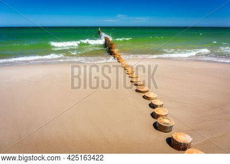 Beautiful landscape of the Baltic Sea on the Hel Peninsula in summer. Poland
