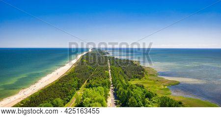 The coastline of the Baltic Sea with beautiful beaches on the Hel Peninsula, Poland