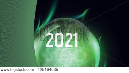 Composition of 2021 over green lit lightbulb. global digital interface, technology and networking concept digitally generated image.
