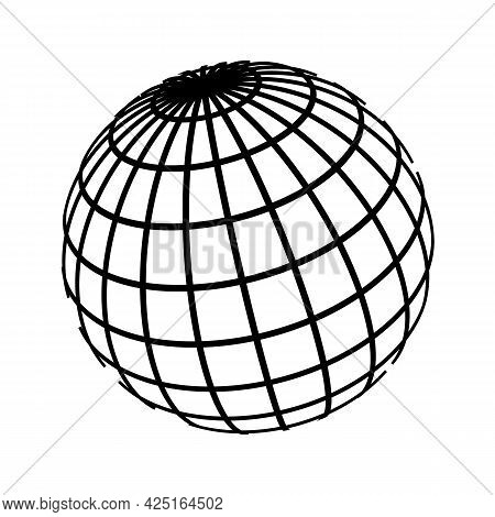 Earth Globe Sphere With Parallels And Meridians