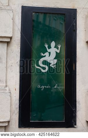 Montpellier , Ocitanie France  - 06 25 2021 : Agnes B. Facade Salamander Windows Boutique Logo Brand