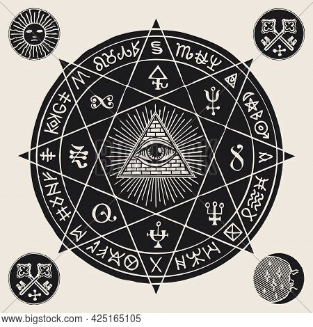 Hand-drawn Illustration With An All-seeing Eye Inside Octagonal Star, Alchemical, Masonic And Esoter