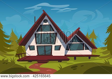 Cottage In Forest, Wooden House On Stilts On Green Field Among Coniferous Trees. Luxury Home With Te