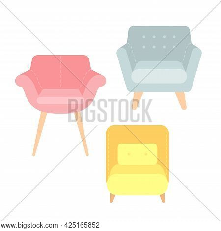 Set Of Trendy Cozy Armchairs With Pillows For Interior Design. Multi-colored Soft Sofas On Wooden Le