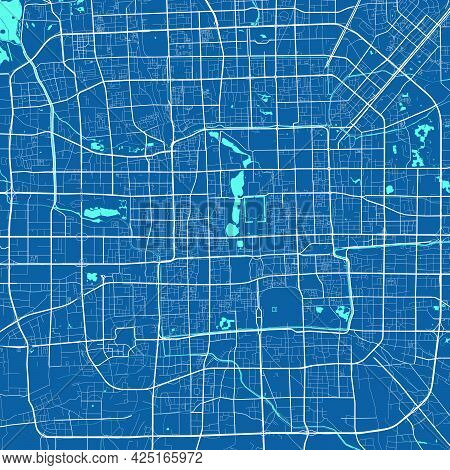 Detailed Map Of Beijing City Administrative Area. Royalty Free Vector Illustration. Cityscape Panora