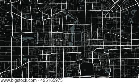 Black And White Grey Beijing City Area Vector Background Map, Streets And Water Cartography Illustra