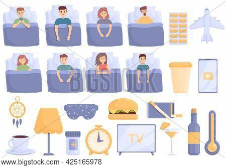 Sleep Problems Icons Set Cartoon Vector. Sleep Pillow And Mask. Dream Problems
