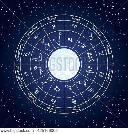 Vector Illustration Of A Circle Of Zodiac Signs With Icons, Names, Constellations And Full Moon On D