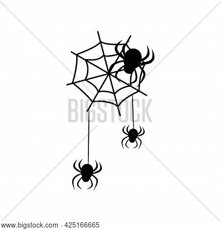 Spiders Hang From The Cobweb. Black Silhouette. Elements For Design For Halloween And Other Holidays